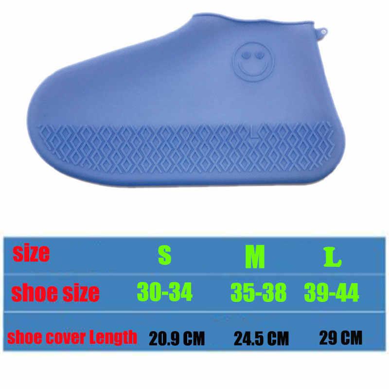 Cubierta de zapatos al aire libre para niños adultos antideslizante impermeable de silicona cubierta de zapatos Botas de lluvia gruesas resistentes al desgaste reutilizables fácil limpio