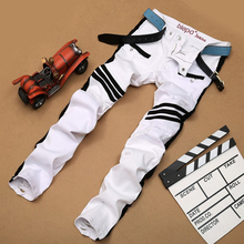 2016 new men's runway fashion vintage washed white denim stretch jeans Biker pants men trousers male personality Slim Jean Men