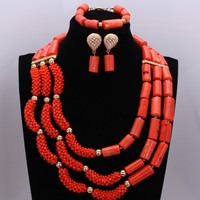 Fashion Original Coral Beads jewelry Set Orange Red Nigerian Jewelry Set For Women Crystals Wedding Choker Set For Ladies 2018