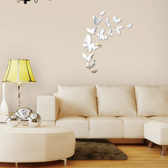 2017 hot new design home decoration mirror surface stickers diy fashion modern wall decal Butterfly geometric still life sticker