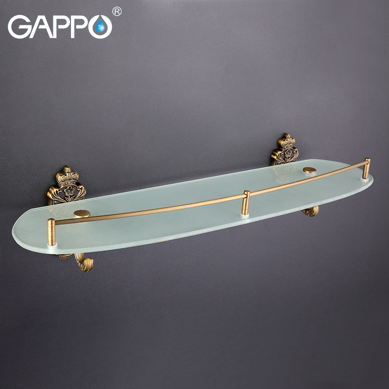 GAPPO glass Bathroom Shelves Brass towel rack Double holder towel shelf Holder Shower Stand Bathroom Accessories