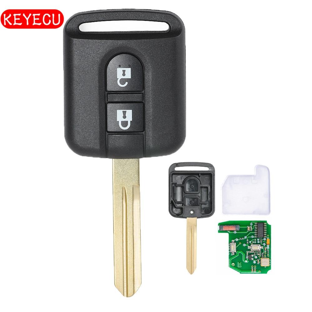 Keyecu Remote Car Key Fob 2 Button 433MHz PCF7946 Chip for Nissan Micra Navara Qashqai 2003-2010 FCC ID: 5WK4-876