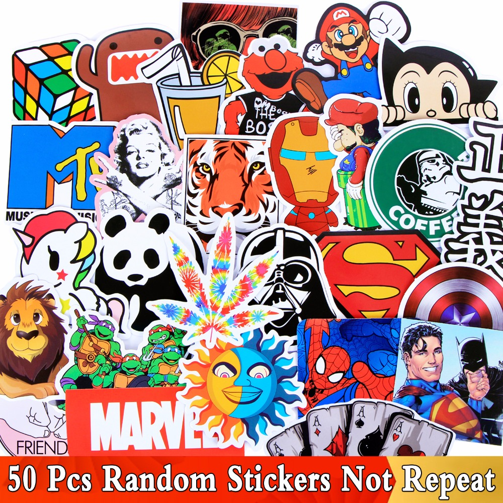 Random 50 PCS/Lot Different Style Funny Stickers For Kids Skateboard Luggage Fridge Motorcycle Laptop Phone Graffiti Toy StickerRandom 50 PCS/Lot Different Style Funny Stickers For Kids Skateboard Luggage Fridge Motorcycle Laptop Phone Graffiti Toy Sticker