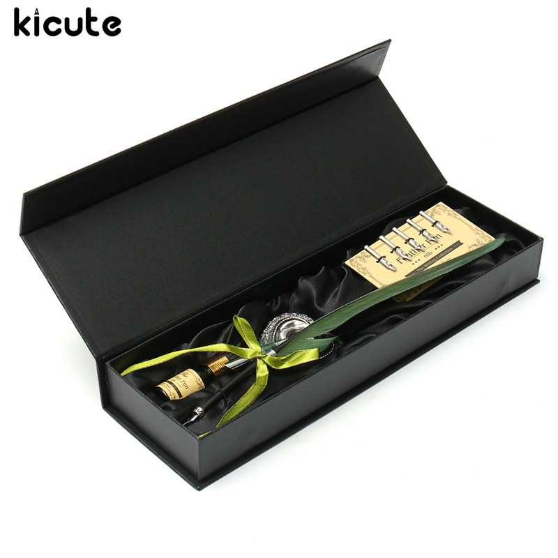 Kicute Classical Green Goose Feather Quill Pen Fountain Pens Metal Nibs Dip Writing Ink Set Stationery Box with 5 Nib Supply kicute retro goose feather quill pen metal nibs dip writing black ink set stationery gift box with 6 nib collectable supplies