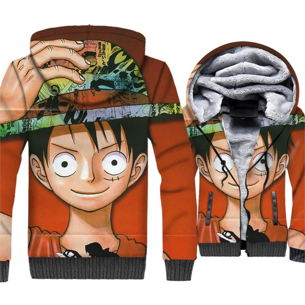 Anime One Piece Jackets Axis Powers 3D Hoodies Men Luffy Sweatshirt New Winter Harajuku Thick Fleece Zipper The Pirate King Coat