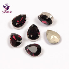 YANRUO Teardrop Amethyst Fancy Claw Rhinestones Jewelry Diamond Bling Stones Crystals For Crafts Sewing on Clothes