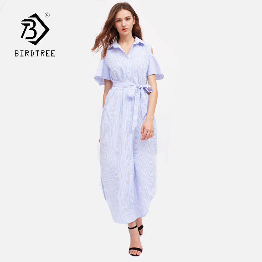 Women's Striped Ankle-Length Dew Shoulder Hight Waist Shirts Dress Fashion 2018 Summer New Arrival Casual Dress Hots D83016F