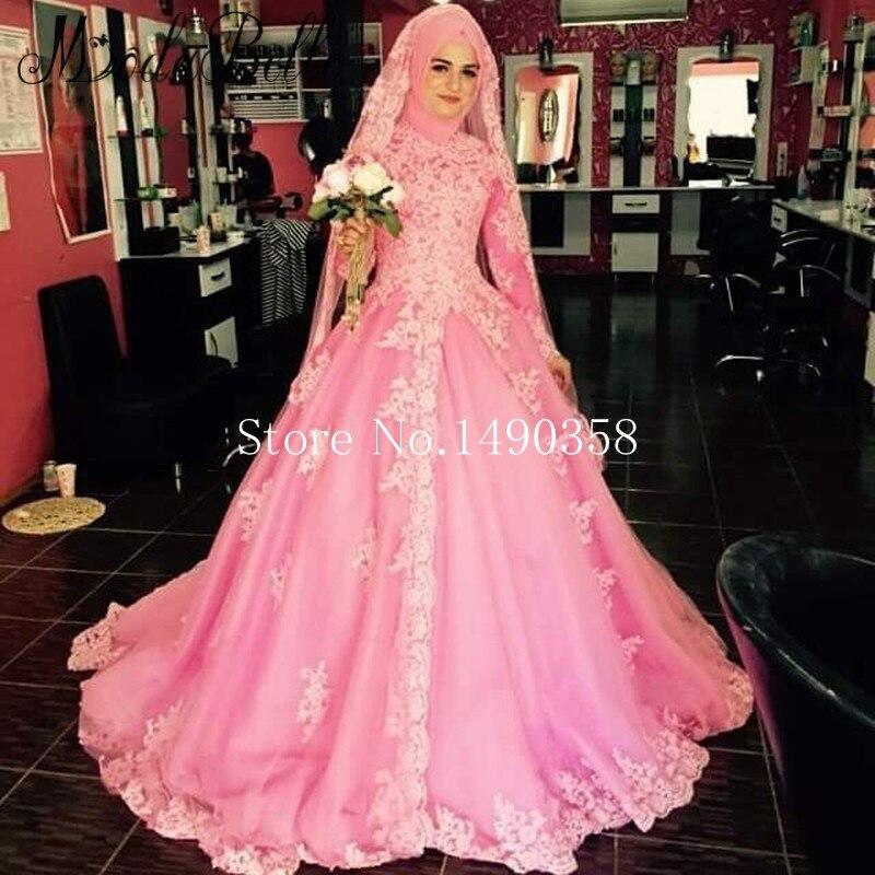 2017 Vintage Abaya Full Sleeve Wedding Dress Lace Bridal Dress Marry Dubai Islamic Bruidsjurken Muslim Pink Ball Gowns