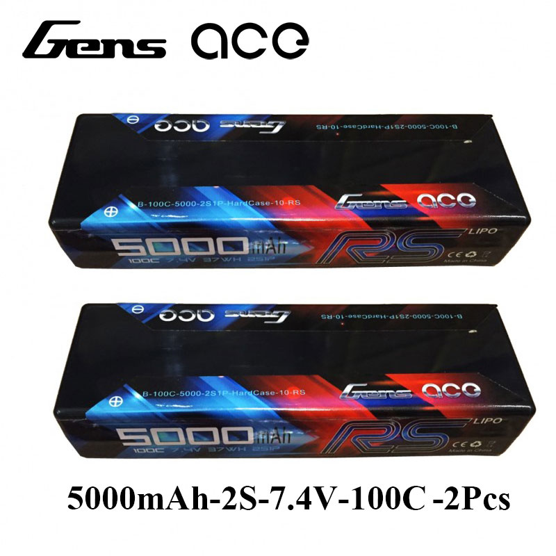 Gens ace Lipo Battery 7.4V 5000mAh 100C-200C Lipo 2S Batteries Pack Deans Plug for HPI Vaterra Ofna Kyosho RC Car gens ace lipo battery 11 1v 5000mah lipo 3s 45c rc battery pack deans plug for mikado logo500 align t rex550 600 gaui x5 rc car