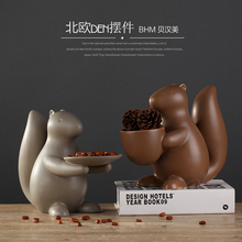 Ceramic modern dining table coffee squirrel crafts dried fruit plate decoration