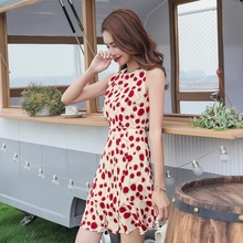 Women Mini Dress Polka-dot Summer Chiffon Dress Female 2019 Retro Sleeveless Party Dresses stylish sleeveless polka dot chiffon dress for women