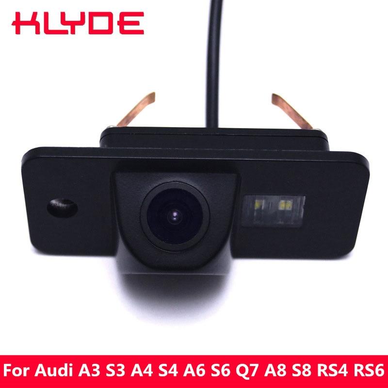 KLYDE Voiture HD Inverse de Vue Arrière Parking Assistance Caméra 170 Degrés de Vision Nocturne pour Audi A3 S3 A4 S4 B6 A6 S6 Q7 A8 S8 RS4 RS6