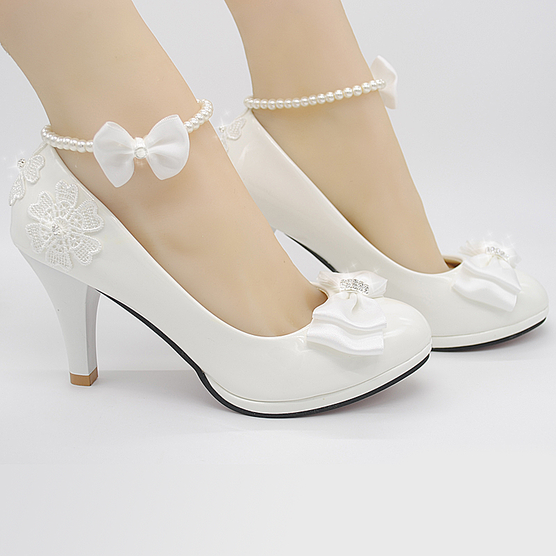 ФОТО Wedding Shoes White bride Shoes Bridesmaid Shoes stage performances High Heels sweet bowtie Women Pumps large size