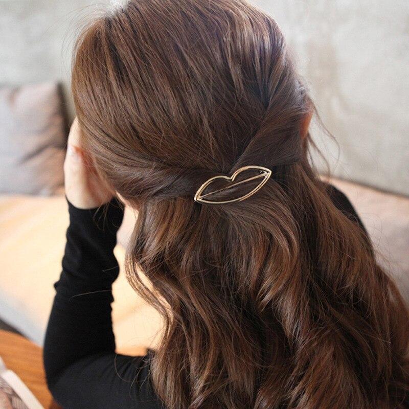 Fashion Geometric Mental Hairpins for Girls Triangle Moon Hair Pin Lip Round Star Hair Clip for Women Barrettes Hair Accessories 4