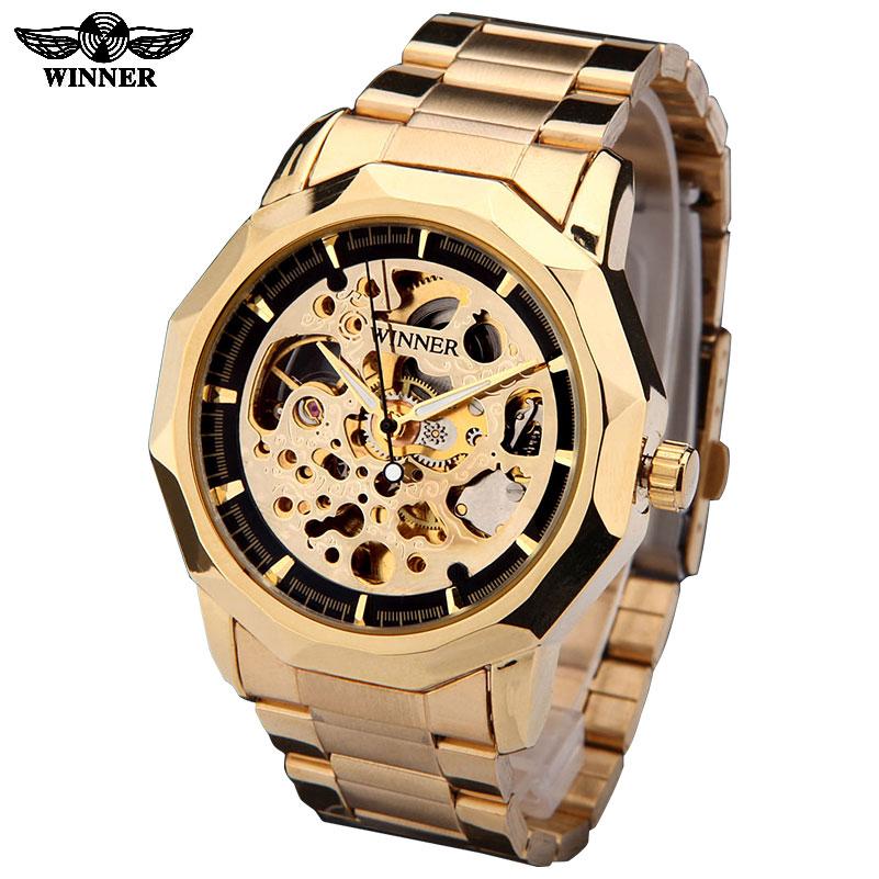 Prix pour GAGNANT marque montres hommes mécanique squelette montres mode casual automatique vent montre or acier bande relogio masculino