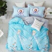 Disney Frozen Elsa Bedding Set Children's Girls Kid Flat Sheet Bed Cover Woven Bedroom Decor Duvet Cover Set