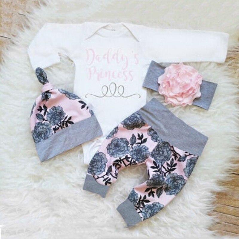 Newborn Infant Baby Outfits Clothes Set Girls Bodysuit +Pants Leggings +Hat Suits Kids Outwear Hot Sale