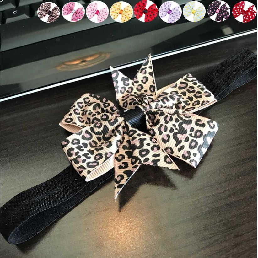 Diadema de leopardo de punto redondo de princesa para niña con lazo y fuerza elástica para niños de nuevo diseño adorable dulce June9