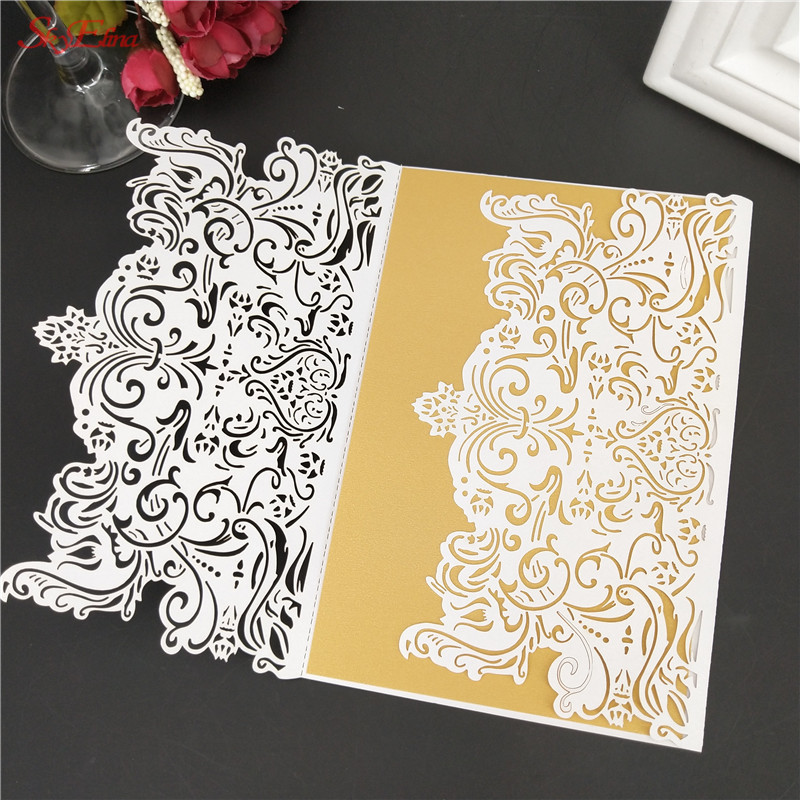 Us 6 03 19 Off 10pcs Wedding Invitation Card Please Carve Patterns Invitations Envelope Party Supplies Decoration 8zsh073 In