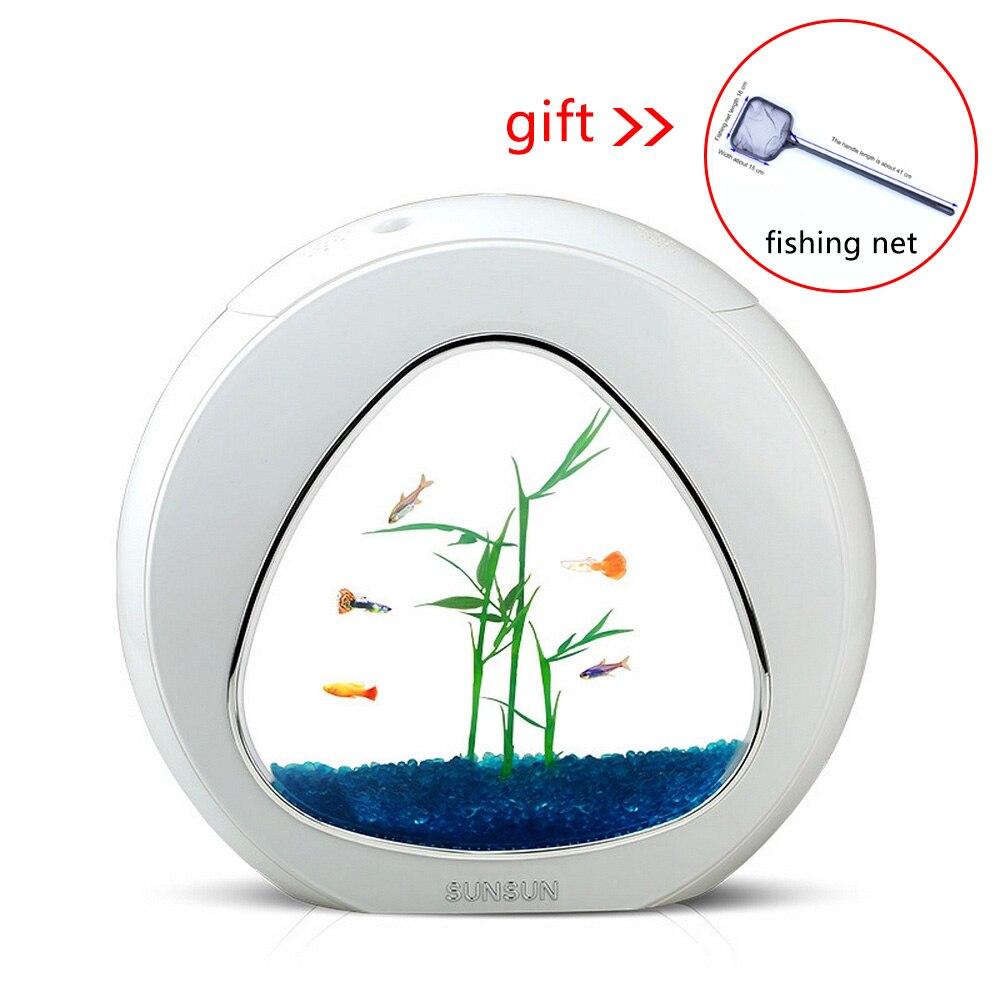 Mini filtre coloré d'intégration de réservoir de poisson d'écologie Mini Nano réservoir bureau Table basse Aquarium 4L décorations pour la maison système de LED
