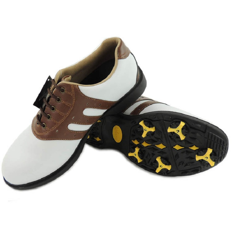 Men Outdoor Golf Shoes Mens Leather Breathable Weaterproof Shoes Activities Nail Automatic Revolving Spikes Golf Sneakers