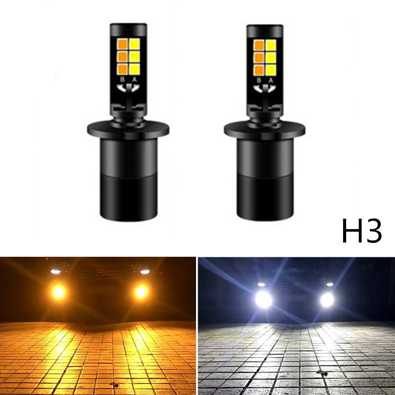 Newest Car Led Fog Lamps LED 20W 2600lm H3 LED Fog Driving White Blue Golden Dual Color 3000K 6000K 12V