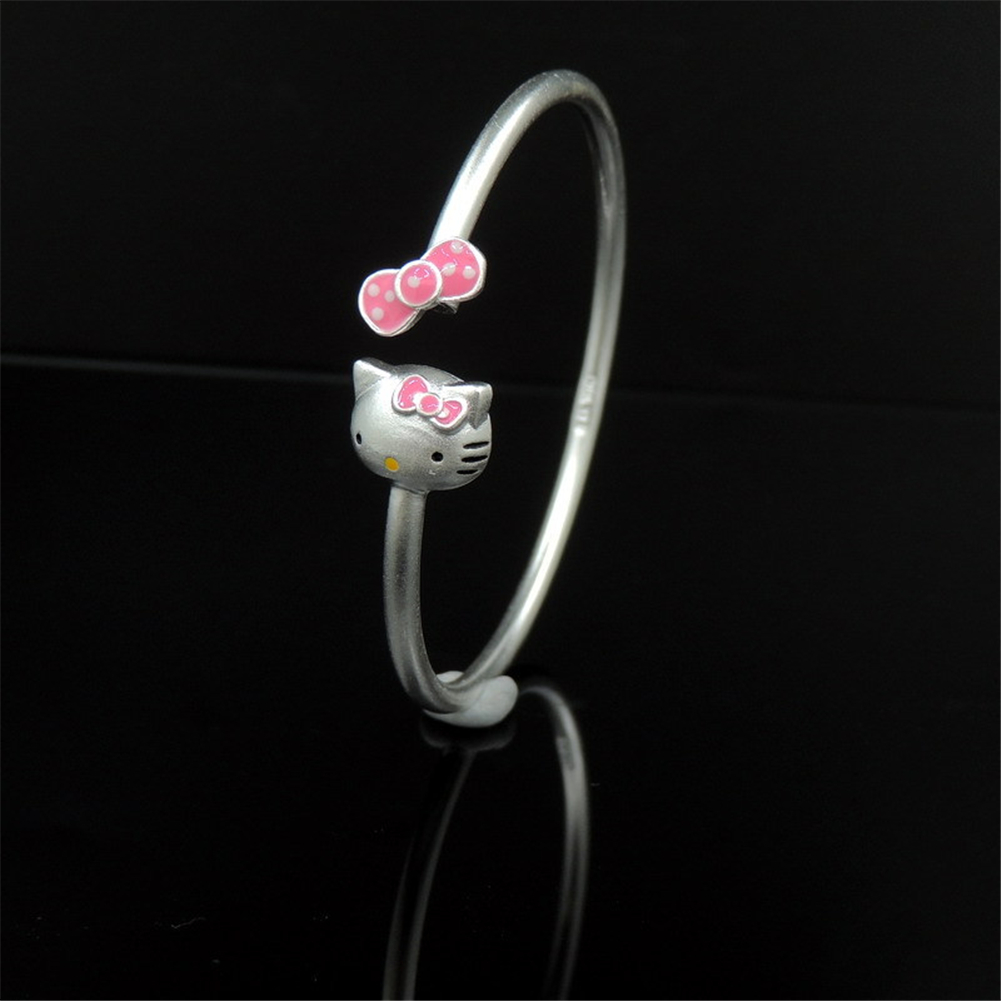 GoodTime Real Solid 925 Sterling Silver Classic Bangles Lovely Cute Hello Kitty Bowknot Bracelets Bangles For