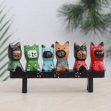6 Little Kittens Miniature Figurines Zakka Wooden Animal Ornaments Creative Home Decoration Gifts Handicraft Photographic Props