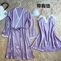 2017 Primavera Verão Vestido de Noite Das Mulheres Sling Saia Set Sexy Cetim Sleepwear Camisola De Seda Das Mulheres Camisola Camisola Feminina