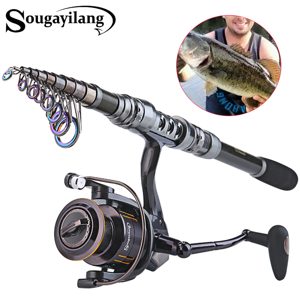 Sougayilang Carbon Fiber Telescopic Carp 1.8- 3.3m Portable Fishing Rod Sets 14BB Metal Spoon Reel Spinning Fishing Reel PescaSougayilang Carbon Fiber Telescopic Carp 1.8- 3.3m Portable Fishing Rod Sets 14BB Metal Spoon Reel Spinning Fishing Reel Pesca