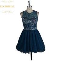A Line Sparkly Pha Lê Đính Cườm Teal Vải Tuyn Mở Lại Ngắn Prom Dress Backless Birthday Party Dress Homecoming Graduation Gown