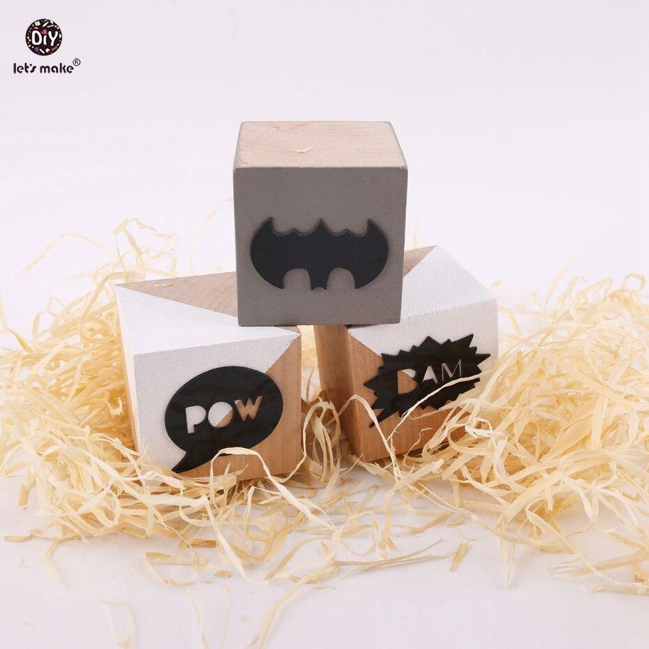 Let's tehdä Creative Wood Block Lasten Room Desktop 3kpl puiset hahmot ja miniatyyrit valokuvaus Kids Toy Wedding Decor lohkot