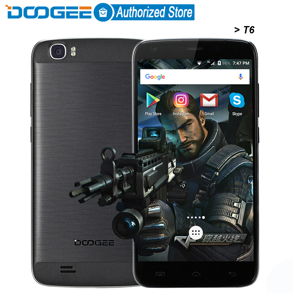 Doogee T6 mobile phones 5.5Inch HD 2GB RAM+16GB ROM Android 5.1 Dual SIM MTK6735 Quad Core 8.0MP 6250mAH WCDMA LTE WIFI GSM GPS