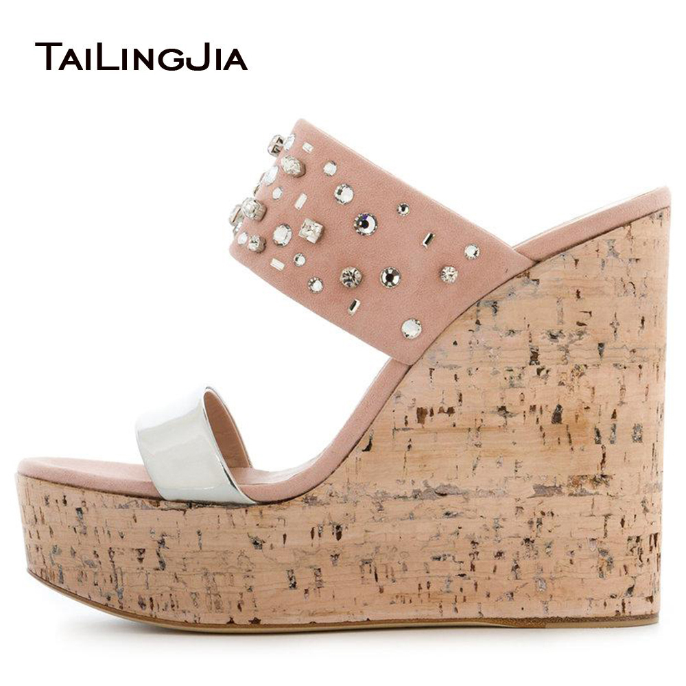 Open Toe Cork Wedge Slide Sandals for Women Platform Mules with Crystal Sky High Evening Dress Heels Ladies Summer Shoes 2018 women peep toe cork wedge sandals high heel platforms evening dress heels ladies summer shoes patent white elegant wedding shoes