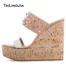 Open Toe Cork Wedge Slide Sandals for Women Platform Mules with Crystal Sky High Evening Dress Heels Ladies Summer Shoes 2018