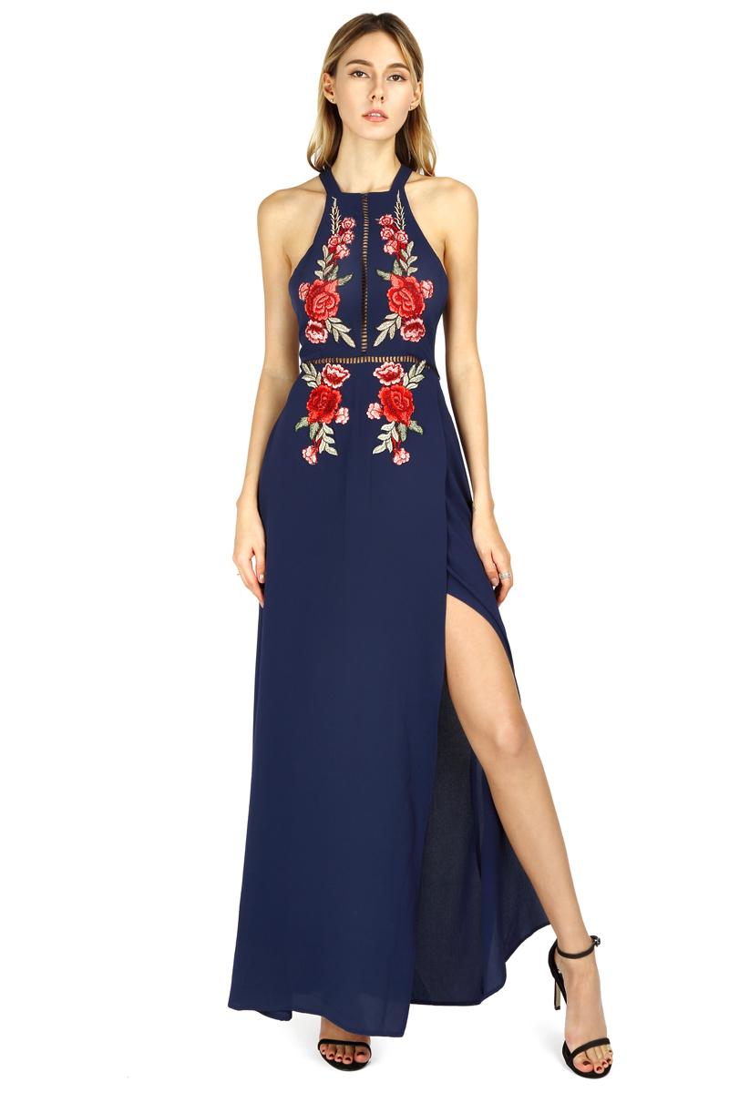 BONGOR LUSS Summer Women Maxi Dress 2017 Halter Sleeveless Front Split Sexy Backless Long Party Dress Embroidery Beach Dress (17)
