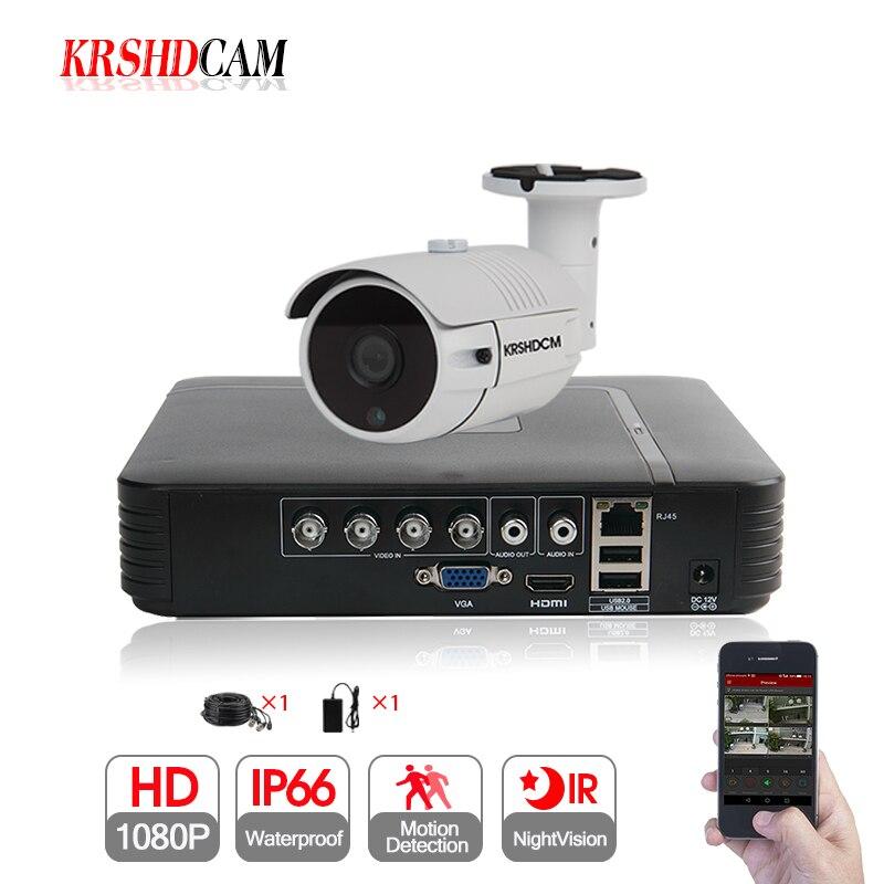 KRSHDCAM 1CH CCTV системы 1080N 5in1 AHD DVR 1 шт. 3000TVL Открытый безопасности пуля камера дома товары теле и видеонаблюдения XMEYE