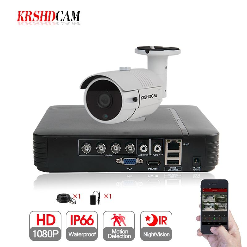 KRSHDCAM 1CH CCTV System 1080N 5in1 AHD DVR 1PCS 3000TVL Waterproof font b Outdoor b font