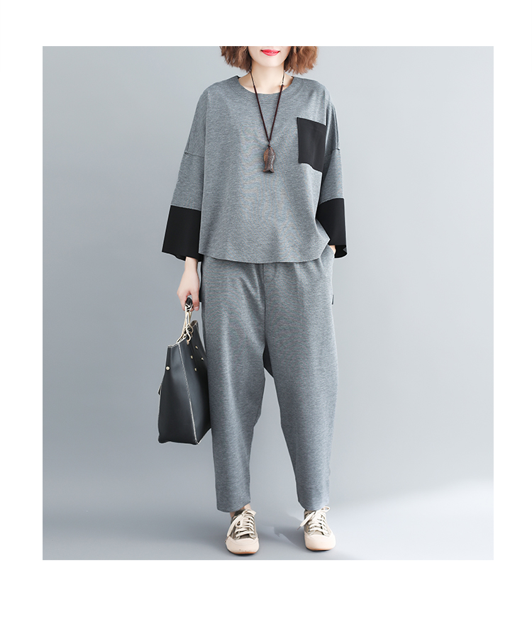 plus Size Mori Girl Grey Two Piece Sets Women Color-blocked Tops And Harem Pants Suits Casual Loose Women's Sets Feminino Mujer 43