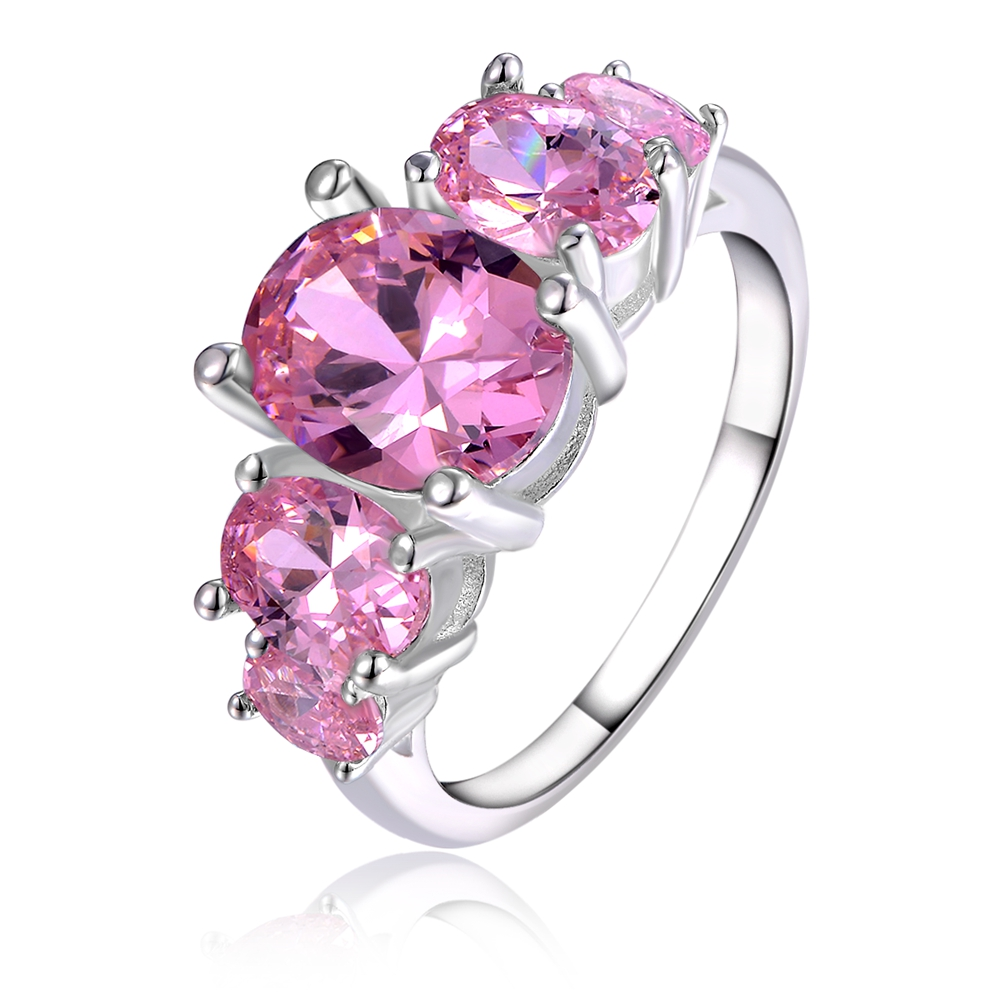New listing for women wedding fashion NOBLE CZ stone pink crystal Rings silver plating hot selling jewelry cute LR003