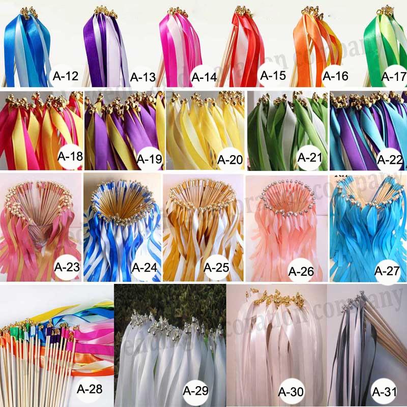 50pieceslot custom colorscustom styles wedding ribbon wandsstick ribbon