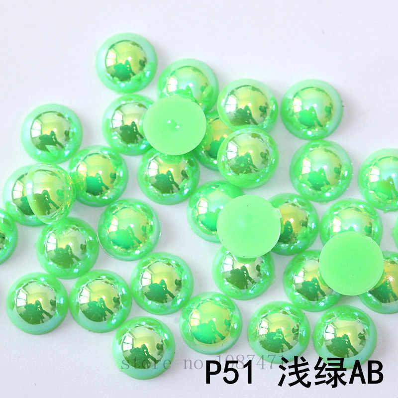 BSTAYLYEXI rozmiar 10mm AB kolor 100 sztuk/partia sztuczna perły półokrągłe Flatback koraliki DIY dekoracje do paznokci