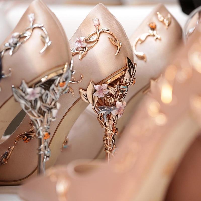 bbae0f1325 Teahoo Luxury Brand Women Pumps Pointed Toe Flower Heel Wedding Shoes Women  Elegant Silk Brand Design