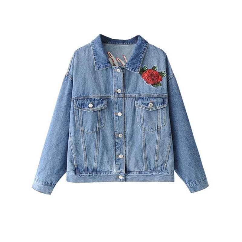Denim jacke frauen jeans jacke stickerei oberbekleidung weiblichen frühling herbst jean mantel street einreiher Sukajan jacken