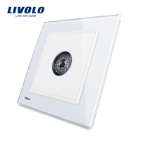 Free Shipping White Crystal Glass Panel Livolo New Wall Light Sound Control Switch AC 110 250V