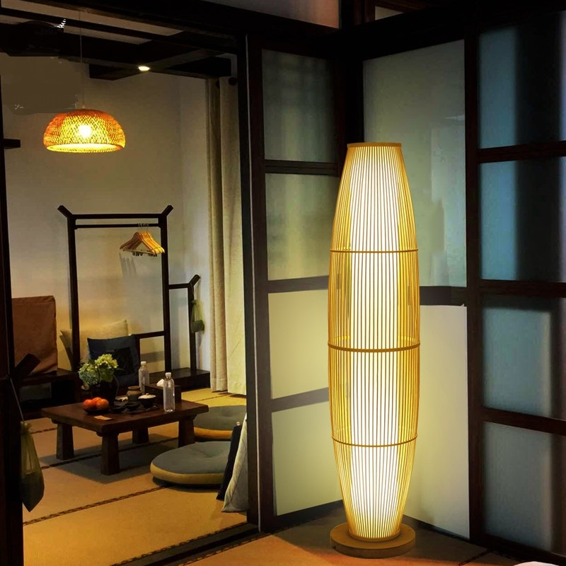 The new Chinese classical Zen Chinese wind vertical foor lamp room balcony bamboo lights Japanese teahouse floor lamp ya72815 chinese pendant lights southeast asia simple modern living room restaurant new classical bamboo lamp hotel teahouse lu823401