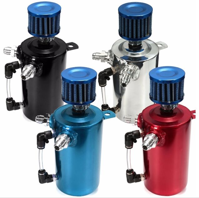 TAKPART 0.5L Oil Catch Tank Can Reservoir Breather 500ml Filter Alloy Car Racing Engine все цены