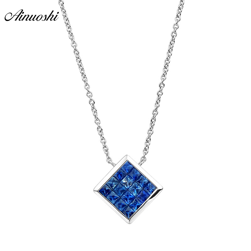 AINUOSHI 18K Solid Gold Necklace Natural Blue Sapphire Pendant 8mm Square Gemstone Customized Gemstone for female