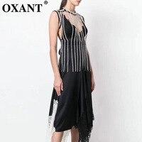 OXANT Women's New Luxury Diamond Chain Lacing Waistband Vest Detachable Double Collar White Shirt