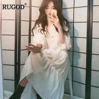 RUGOD New Korean Style Elegant Cascading Hem Loose White Dress Women 2018 Summer Thin Long Flare Sleeve Midi Dress Vestidos Robe